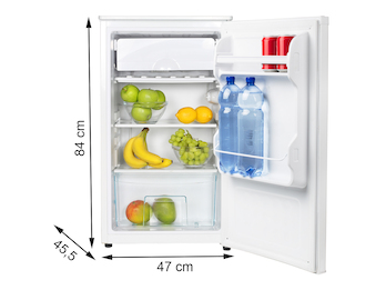 Kleiner schmaler Kühlschrank 82 Liter mit Gemüsefach & 11 Liter Gefrierfach