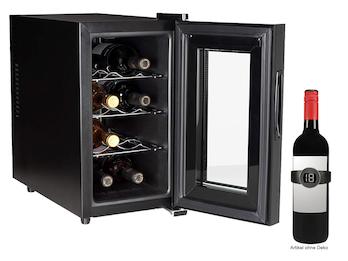 Schmaler MINI Weinkühlschrank für 8 Flaschen mit LED Anzeige & Weinthermometer