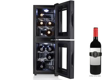 Zwei-Zonen Weinkühlschrank für 12 Flaschen mit LED Anzeige & Weinthermometer