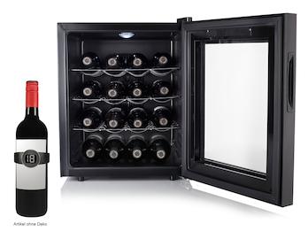 Kleiner Weinkühlschrank für 16 Flaschen mit LED Anzeige & Weinthermometer