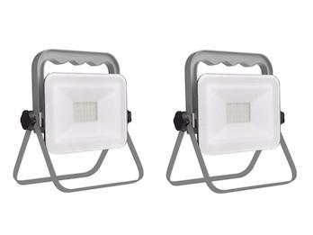2er Set klappbare Baustrahler LED Fluter Arbeitsscheinwerfer 20W, IP65