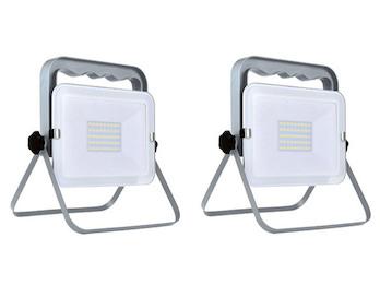 2er Set klappbare Baustrahler LED Fluter Arbeitsscheinwerfer 30W, IP65