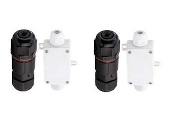 2er Set Anschluss Verbinder / Rundverbinder mit Connection Box & Connector IP65