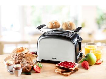 Toaster aus rostfreiem Edelstahl mit Brötchenaufsatz, 4 Funktionen & 7 Stufen