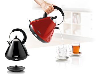 Stylische Retro Wasserkocher aus Edelstahl mit Filter in Rot oder Schwarz - 1,7L