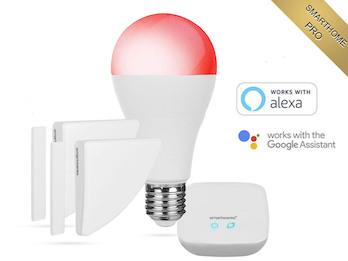 SmartHome Pro Funk Alarmset mit Basis, Tür- / Fenstermagnet & Farb Leuchtmittel