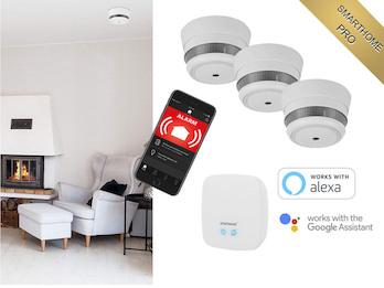 Smarthome Brandschutz Set: Zentrale & 3x MINI Rauchmelder mit ALARM aufs Handy