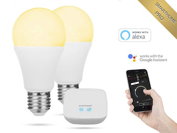 2er Set APP gesteuerte E27 LED Leuchtmittel Smarthome PRO - dimmbar & Lichtfarbe