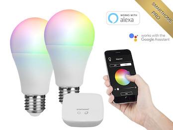 2er Set APP gesteuerte E27 LED Leuchtmittel Smarthome PRO - dimmbar & RGB Farbe