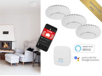 Smarthome Brandschutz Set: Zentrale & 3x Funkrauchmelder mit ALARM aufs Handy