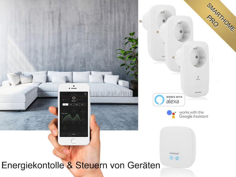 SmartHome PRO Stromzähler Starterset: 3 App gesteuerte Funksteckdosen mit Basis