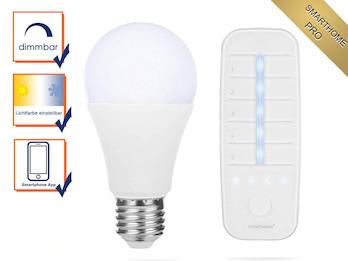 SmartHome PRO Vorteils Set: Dimmbares LED Leuchtmittel mit Zusatz Fernbedienung