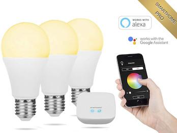 Starterset E27 Glühbirnen Smarthome PRO mit Basis - dimmbar & Lichtfarbe per App