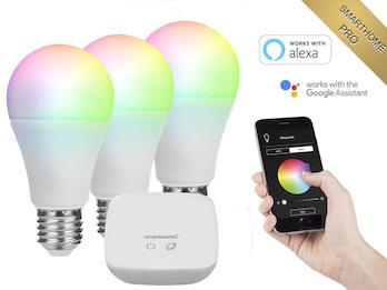 Starterset smarte E27 Glühbirnen Smarthome PRO, dimmbar & RGB Farbe per App