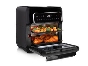 Digitale Heißluftfritteuse Mini Backofen, 2 Grillroste & Pommeskorb, 10L 1500W