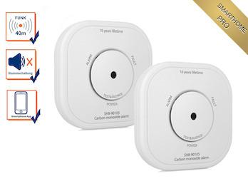 2er Set Zusatz CO-Melder mit extra Warnsignal per App - SmartHome PRO Serie