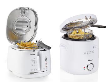 Kompakte Mini Fritteusen in Weiß 1000/1600 Watt 1,5/2,5L mit Cooltouch Gehäuse
