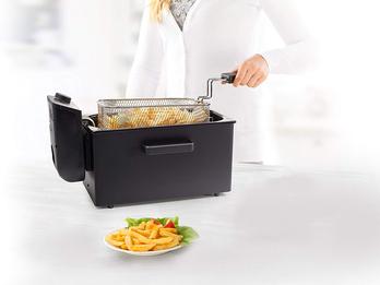 Edelstahl Kaltzonen Fritteuse in schwarz mit Fettschutzfilter, 2000Watt, 3 Liter