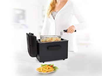 Edelstahl Kaltzonen Fritteuse in schwarz mit Fettschutzfilter, 1700Watt, 2 Liter