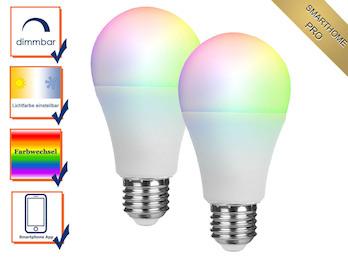 2er Set intelligente E27 Zusatz LED Birnen Smarthome PRO - dimmbar & RGB Farbe