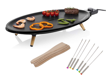 Ovaler XL Teppanyaki Table Chef Elypse Pure 60x30cm mit 6 Teppan Gabeln