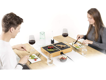 Teppanyaki Dinner4Two Pure Tischgrill 2x 20,5 x 14cm im Bambusgehäuse