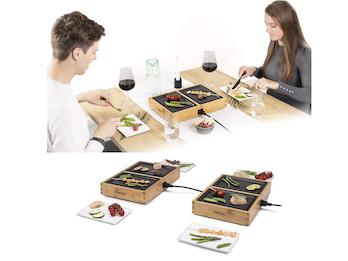 Design Teppanyaki - Tischgrill für 6 Personen im Bambusgehäuse - 6x 20,5 x 14cm