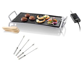 Teppanyaki Grillplatte glatt & geriffelt, 26x46cm 2500W & 4 Teppan Gabeln
