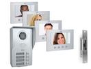 Mehrfamilien Video Türgegensprechanlagenset mit 4 Farbmonitoren und Türöffner