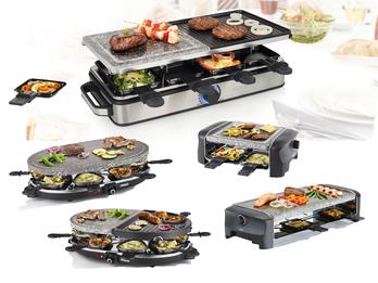DESIGN Raclettegeräte mit Stein & Grillplatte für 4-8 Personen Tischgrill