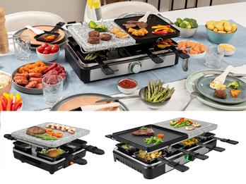 Raclette Geräte mit Stein & wendbarer Grillplatte für 4-8 Personen - Tischgrill