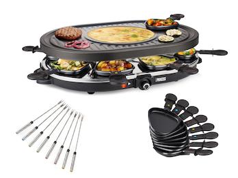 RACLETTE mit Teppan Gabeln für 8 Personen Grillplatte oval Crêpefläche 1200 Watt