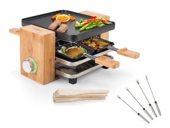 DESIGN Holz Raclette mit Teppan Gabeln für 4 Personen & Ablage für Pfännchen