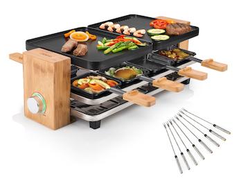 DESIGN Holz Raclette mit Teppan Gabeln für 8 Personen & Ablage für Pfännchen