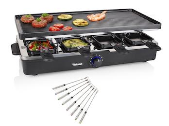 Raclette eckig mit Teppan Gabeln für 8 Personen wendbare Grillplatte, 1400 Watt
