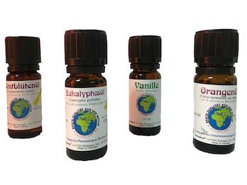 Naturreines Duftöl Set mit 4 Düften - Vanille, Orange, Eukalyptus, Zimt; je 10ml