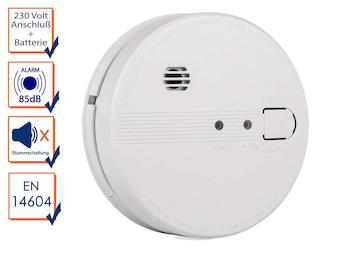 Optischer Rauchwarnmelder mit Netzbetrieb und Batterie, 85dB Brandalarm