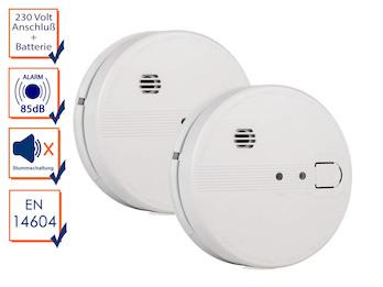 2er Set vernetzbare Rauchmelder 230V oder Batterie, Alarmmelder 85dB