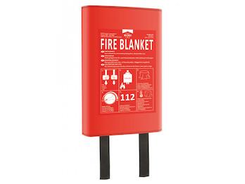 Feuerlöschdecke 180x120cm mit Hardcover-Hülle, auch für Personen geeignet