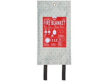 Design Löschdecke weiß / grün 120x120cm, Brandschutzdecke aus Glasfaser