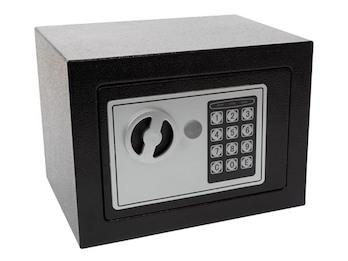 Elektronischer Safe mit Zahlencode, Möbeltresor schwarz 17x23x17cm mit Schlüssel