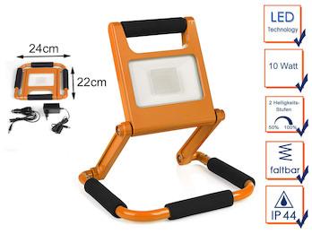 Klappbarer 10 Watt LED Baustrahler orange mit Akku & 2 Helligkeitsstufen