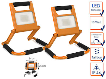 2er Set klappbare 10 Watt LED Baustrahler orange mit Akku & 2 Helligkeitsstufen
