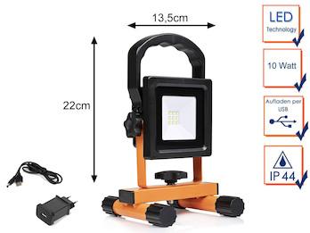10 Watt LED Baustrahler mit Akku & USB Ladekabel - Baustellenlampe IP44