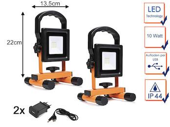 2er Set LED Baustrahler 10 Watt mit Akku & USB Ladekabel - Baustellenlampen