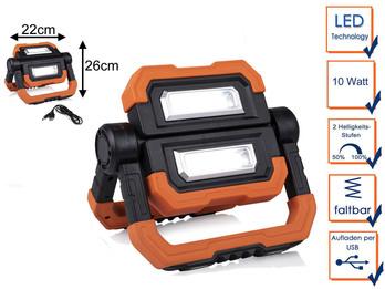 Klappbarer LED Baustrahler 2x 5 Watt mit Magnet, Akku & USB Ladekabel