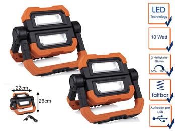 2er Set klappbare LED Baustrahler 10 Watt mit Magnet, Akku & USB Ladekabel