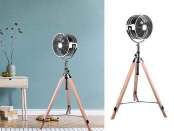 Tripod Standventilator Chrom mit Holzstativ Höhe 120- 140cm Ø28cm