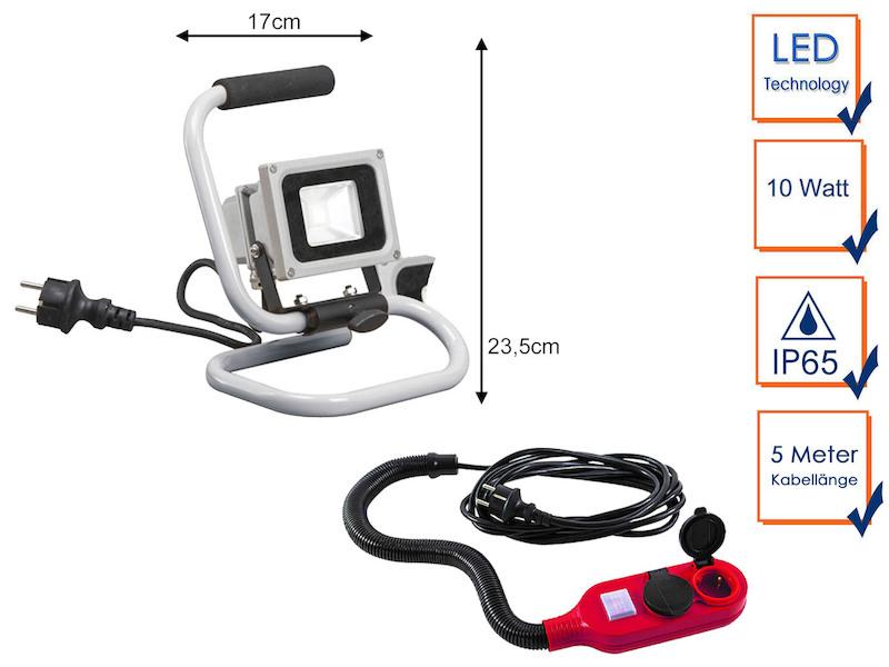 Tragbarer 10 Watt LED Baustrahler mit Verlängerungskabel, Baustellenlampe