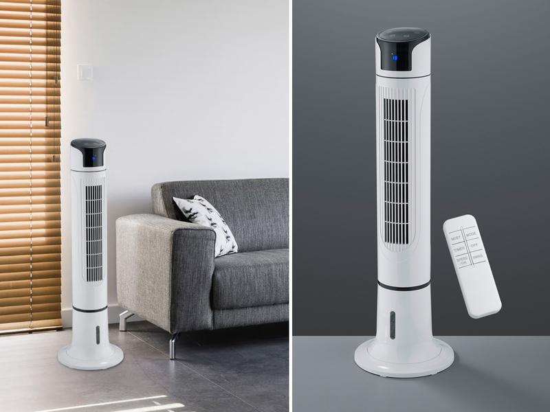 Turmventilator oszillierend & Sprühnebel Luftbefeuchtung 3 Stufen Fernbedienung